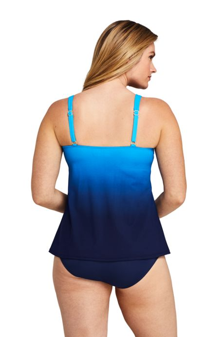 Women's Slender Square Neck Flyaway Tankini Top Swimsuit Print