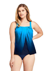 Women's Slender Square Neck Flyaway Tankini Top Swimsuit Print