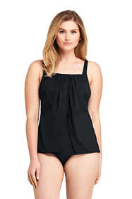 Women's Slender Square Neck Flyaway Tankini Top Swimsuit