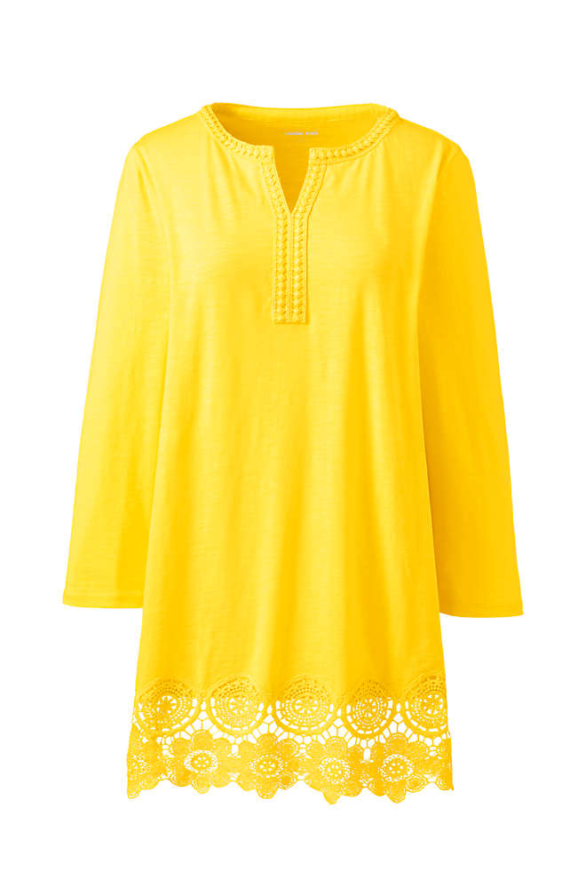 Women's 3/4 Sleeve Crochet Hem Tunic, Front