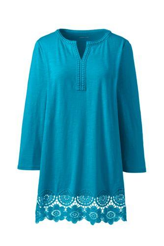 Tunique en Jersey Flammé et Crochet, Femme Stature Standard