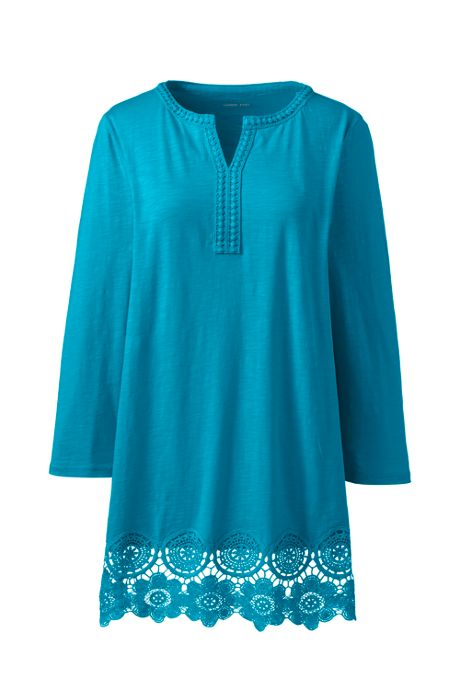 Women's Plus Size 3/4 Sleeve Crochet Hem Tunic