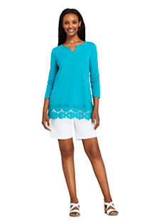 Women's 3/4 Sleeve Crochet Hem Tunic, alternative image