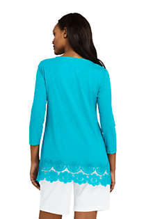 Women's 3/4 Sleeve Crochet Hem Tunic, Back