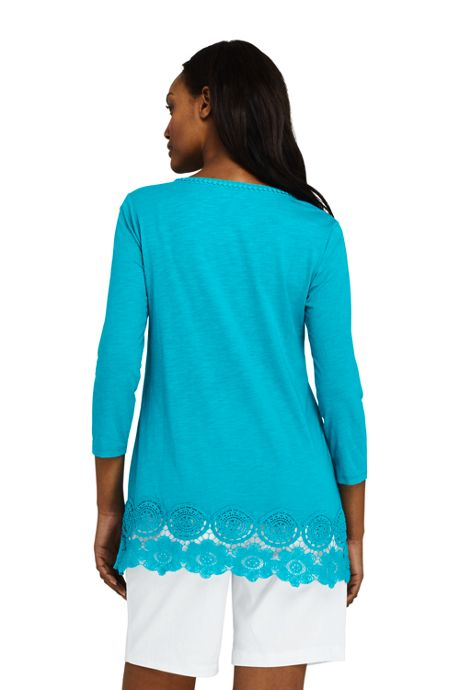 Women's Petite 3/4 Sleeve Crochet Hem Tunic