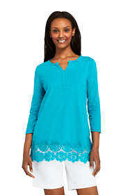 Women's 3/4 Sleeve Crochet Hem Tunic