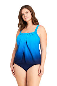 Women's Plus Size Slender Square Neck Flyaway Tankini Top Swimsuit Print