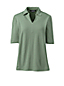 Women's Linen/Cotton Polo Shirt with Elbow Sleeves