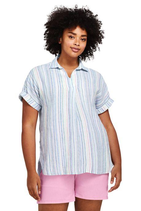 Women's Plus Size Short Sleeve Pattern Popover Linen Tunic