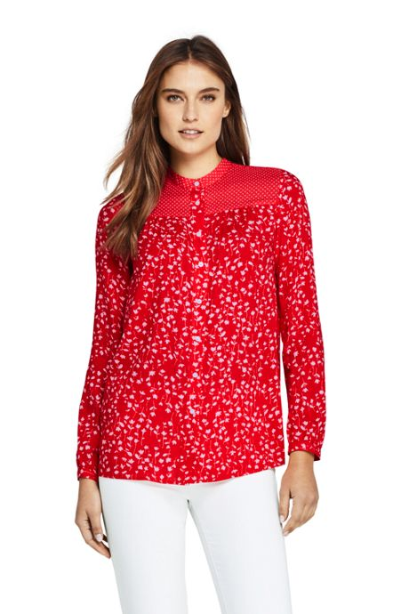 Women's Petite Casual Pattern Soft Blouse