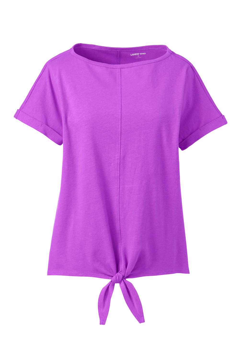 e4b93531cac Women s Plus Size Short Sleeve Linen Cotton Boat Neck Tie Front T ...