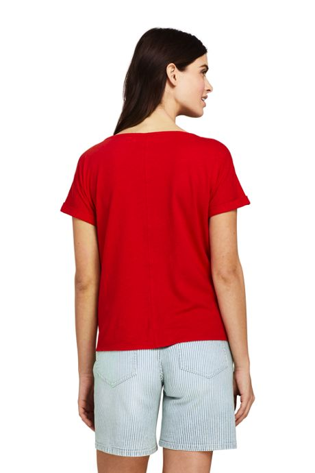 Women's Petite Short Sleeve Boat Neck Tie Front Linen Cotton T-Shirt