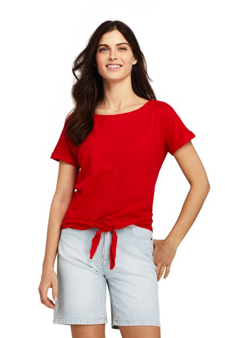 Women's Short Sleeve Boat Neck Tie Front Linen Cotton T-Shirt