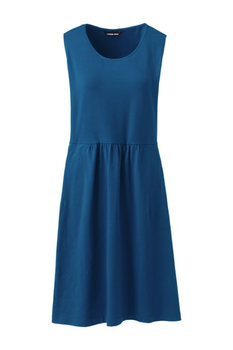 Women's Petite Sleeveless Knit Print Aline Dress