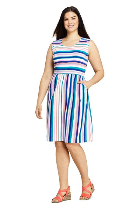 Women's Plus Size Sleeveless Knit Print Aline Dress