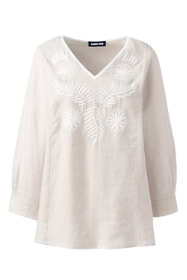 Women's Plus Size Linen Embroidered Top