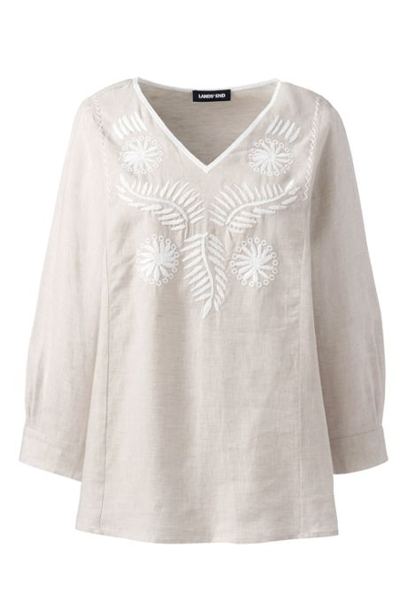Women's Petite Linen Embroidered Top