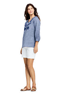 Women's Petite Linen Embroidered Top, Unknown