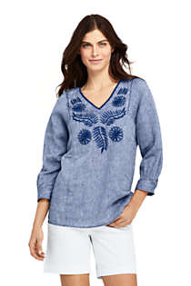 Women's Petite Linen Embroidered Top, Front