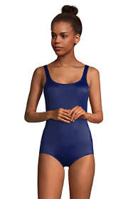 Women's Petite Chlorine Resistant Scoop Neck Shelf Bra Tugless Sporty One Piece Swimsuit