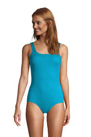 Women's Petite Chlorine Resistant Tugless One Piece Swimsuit Soft Cup