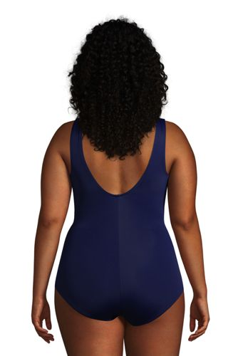 Women's Plus Size Long Chlorine Resistant Scoop Neck Soft Cup Tugless Sporty One Piece Swimsuit
