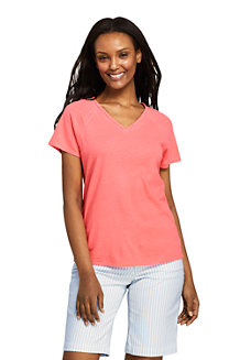 Women's Linen/Cotton V-neck T-shirt with Ladder Trim