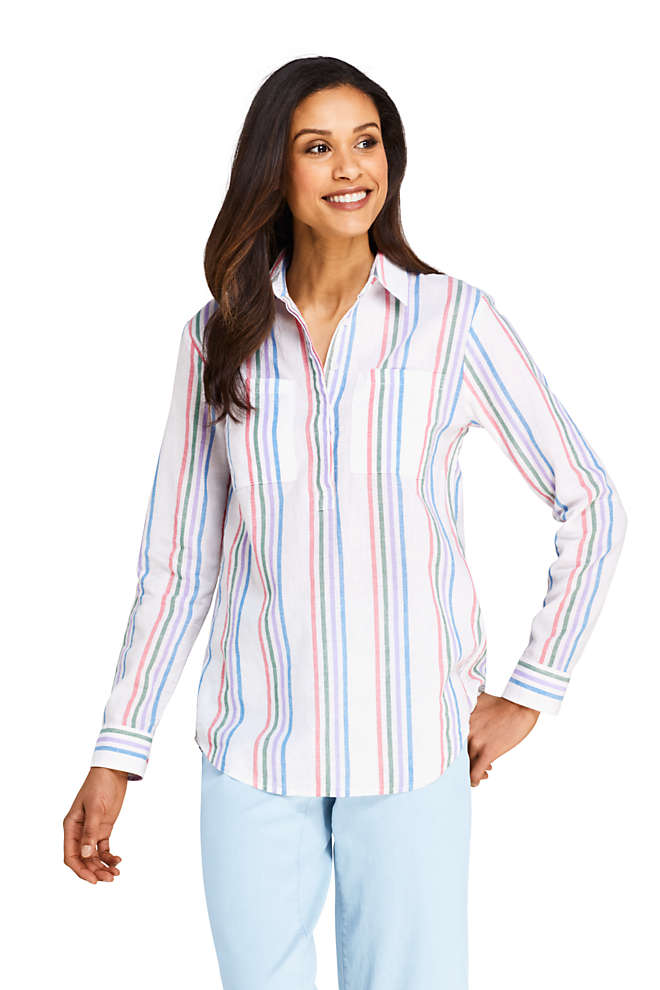 Women's Petite Pattern Cotton Linen Popover Shirt, Front