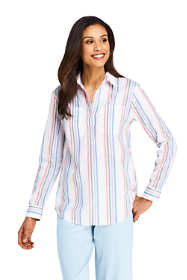 Women's Petite Pattern Cotton Linen Popover Shirt