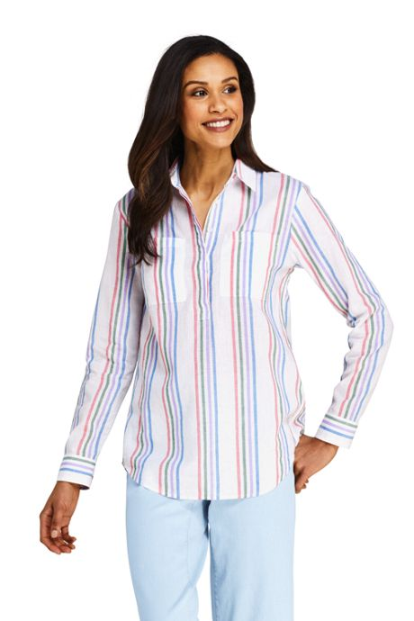 Women's Pattern Cotton Linen Popover Shirt