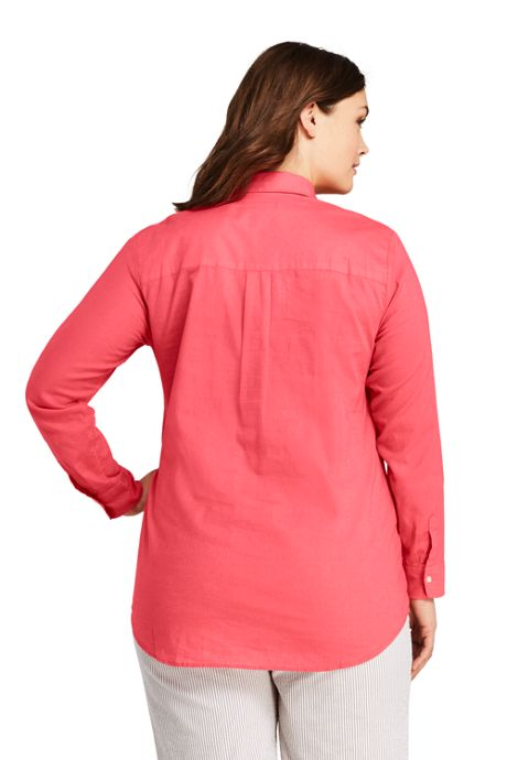 Women's Plus Size Cotton Linen Popover Shirt