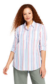 Women's Plus Size Pattern Cotton Linen Popover Shirt