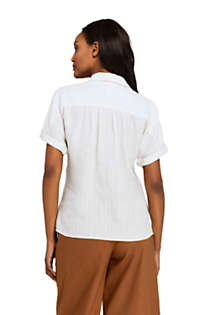 Women's Linen Tie Front Pattern Shirt, Back