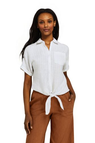Women's Petite Tie Front Patterned Linen Shirt