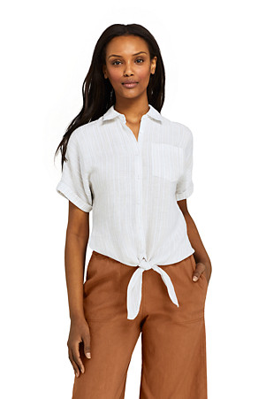 c16f2878 Women's Tie Front Patterned Linen Shirt | Lands' End