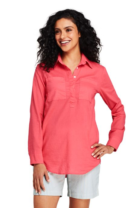 Women's Petite Cotton Linen Popover Shirt