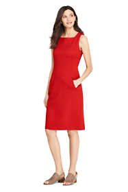 Women's Petite Sleeveless Square Neck Ponte Sheath Dress
