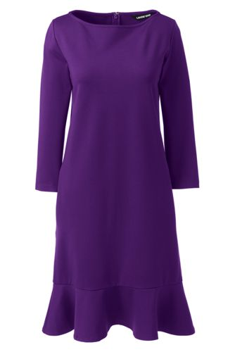 Women's Ponte Jersey Dress with Ruffle Hem