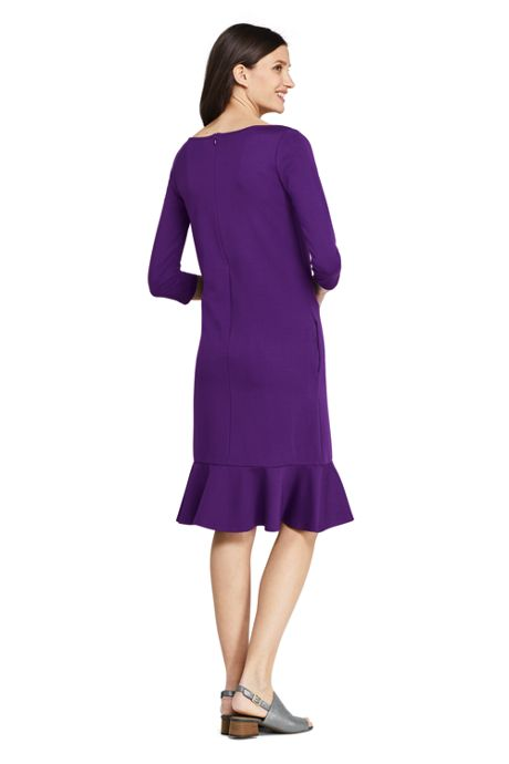 Women's Petite 3/4 Sleeve Ponte Shift Dress