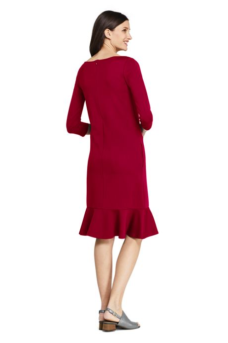 Women's Tall 3/4 Sleeve Ponte Shift Dress