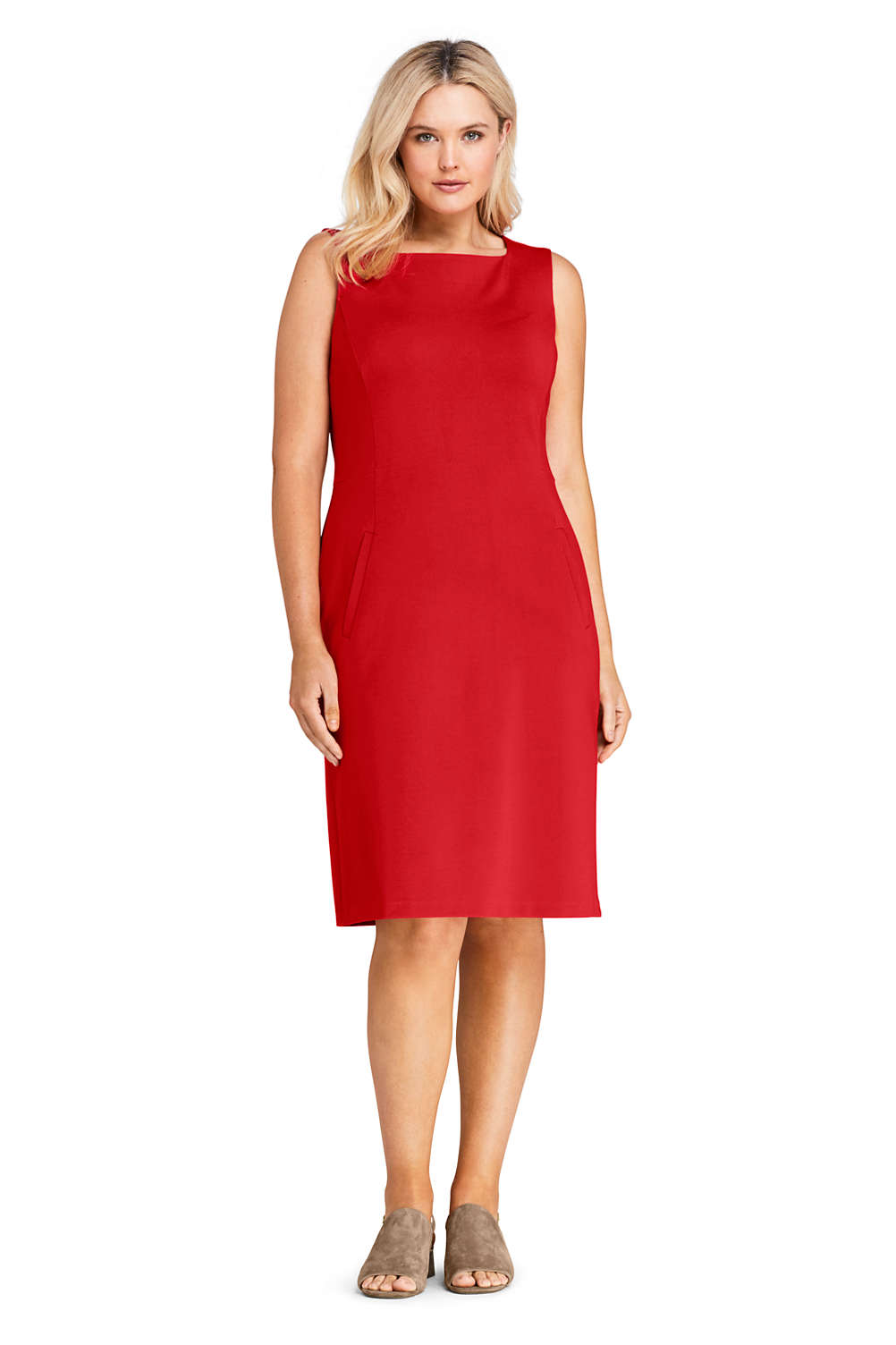 8212295787d Women s Plus Size Sleeveless Square Neck Ponte Sheath Dress from Lands  End