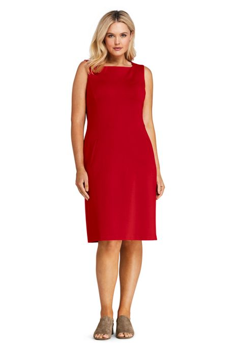 Women's Plus Size Sleeveless Square Neck Ponte Sheath Dress