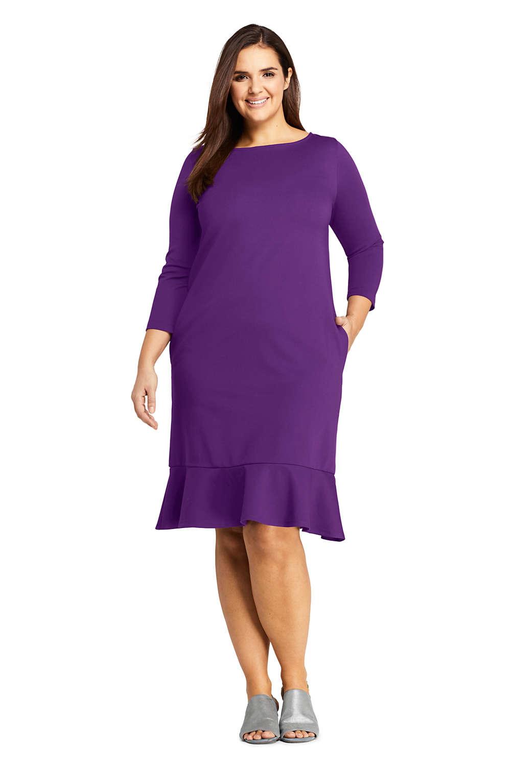 Women\'s Plus Size 3/4 Sleeve Ponte Shift Dress