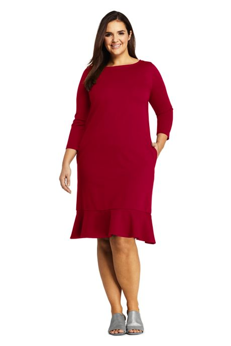 Women's Plus Size 3/4 Sleeve Ponte Shift Dress