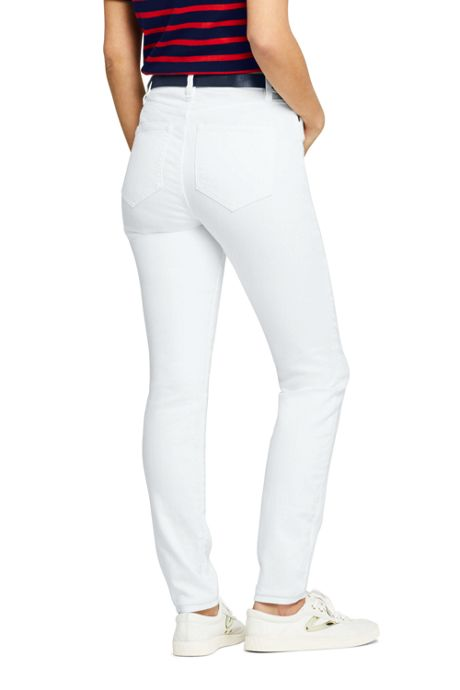Women's Mid Rise Curvy White Skinny Jeans
