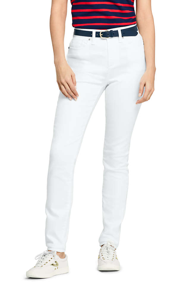 Women's Mid Rise Curvy White Skinny Jeans, Front