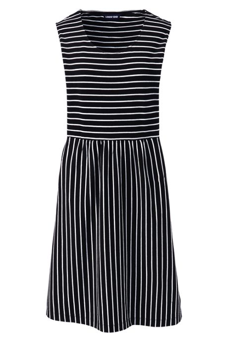 Women's Plus Size Sleeveless Knit Stripe Aline Dress