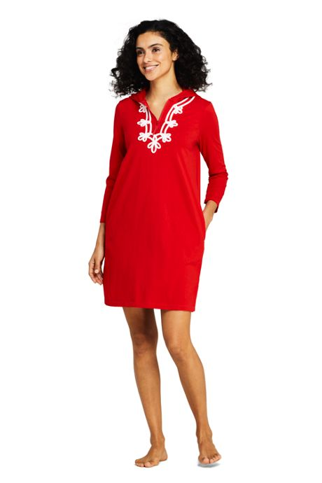 Women's Cotton Jersey Embelished Hooded Half Zip Swim Cover-up