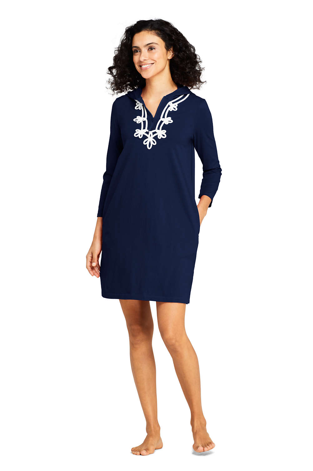 dd11712bfb1 Women's Cotton Jersey Embelished Hooded Half Zip Swim Cover-up from Lands'  End