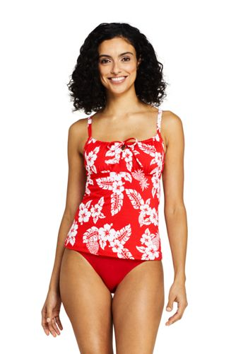 Women's Beach Living Print Tie Front Tankini Top